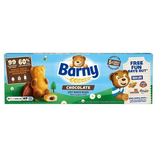 Barny Chocolate Sponge Bears 5pk 125g