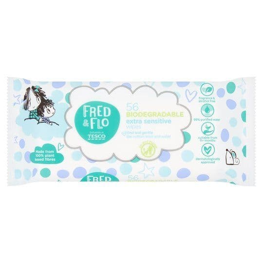 Fred & Flo 56 Biodegradable Extra Sensitive Wipes