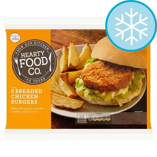 Hearty Food Co 8 Breaded Chicken Burgers 456g