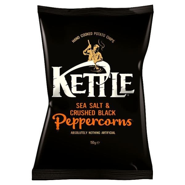Kettle Chips Sea Salt & Cracked Black Peppercorns 150g