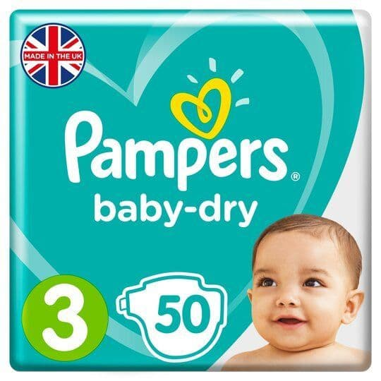 Pampers Baby Dry Nappies S3 50pk