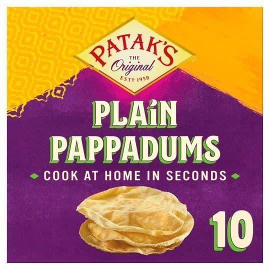 Pataks 10 Plain Pappadums 100g