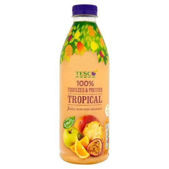 Tesco 100% Pressed Fresh Tropical Juice 1L