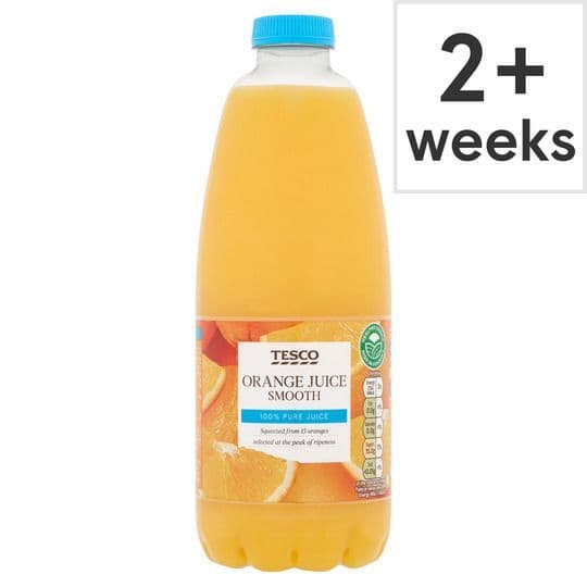 Tesco 100% Pure Fresh Orange Juice Smooth 1L Bottle