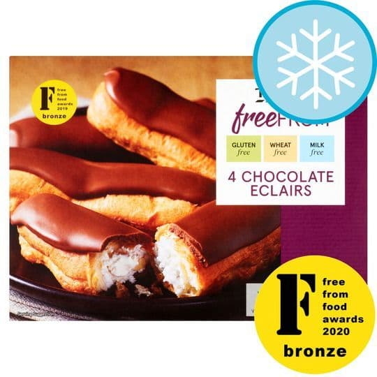 Tesco 4 Free From Chocolate Eclairs 100g