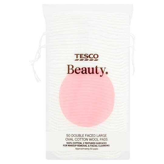 Tesco 50 Large Oval Cotton Wool Pads