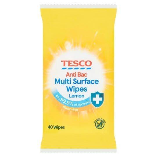 Tesco Anti Bacterial Wipes Lemon