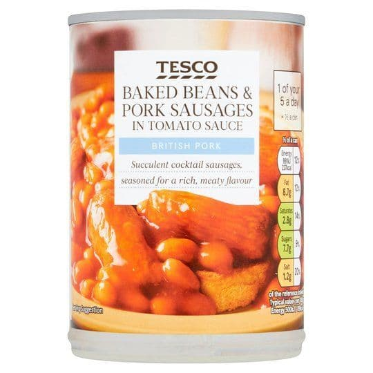 Tesco Baked Beans & Sausages in Tomato Sauce 395g