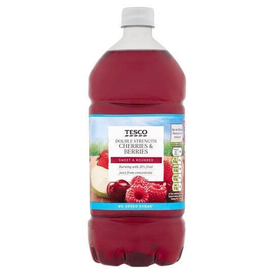 Tesco Double Concentrate Cherries Berries NAS Squash 1.5L