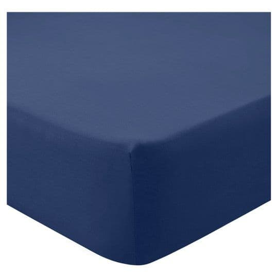 Tesco Fitted Sheet Navy Double