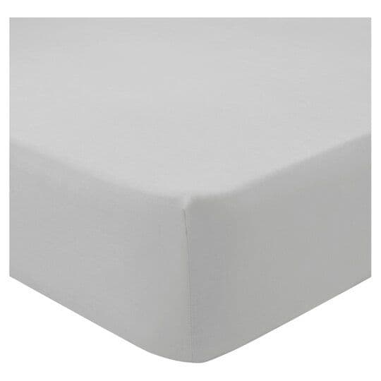 Tesco Fitted Sheet Pale Grey Single
