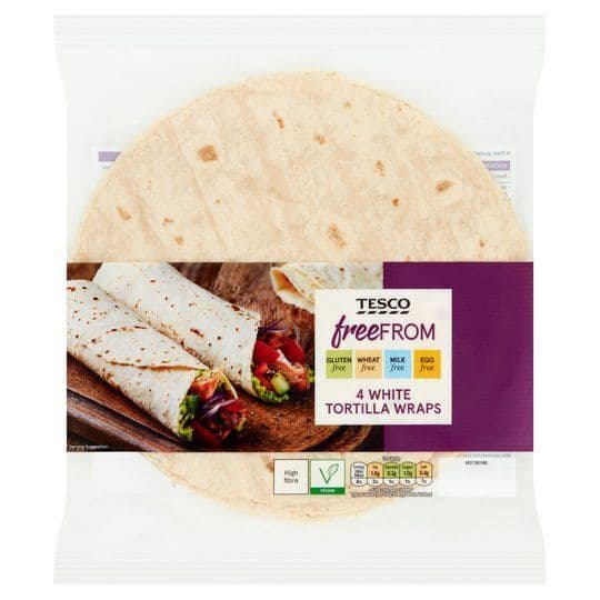 Tesco Free From 4 White Tortilla Wraps