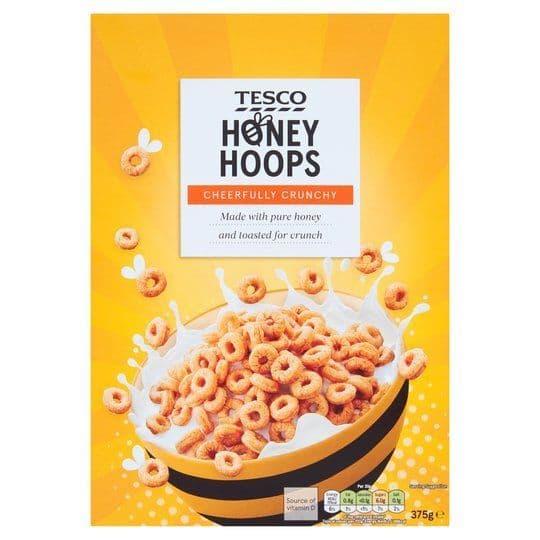 Tesco Honey Hoops 375g