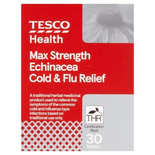 Tesco MAX Echinacea Cold & Flu Relief Tablets 30