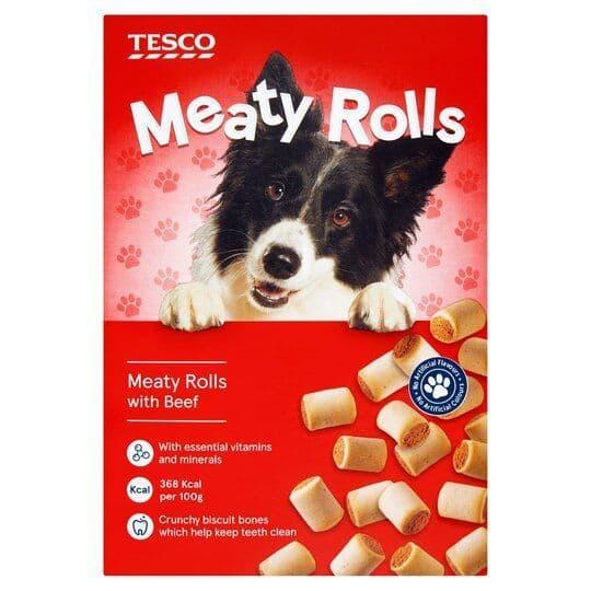 Tesco Meaty Rolls Dog Treats 500g