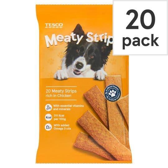 Tesco Meaty Strips Chicken For Dogs 200g
