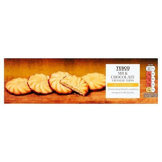 Tesco Milk Choc Viennese Biscuit Thins 135g