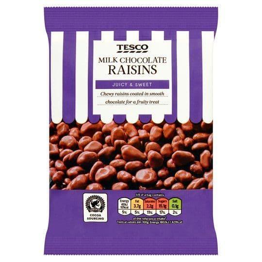 Tesco Milk Chocolate Raisins 200g