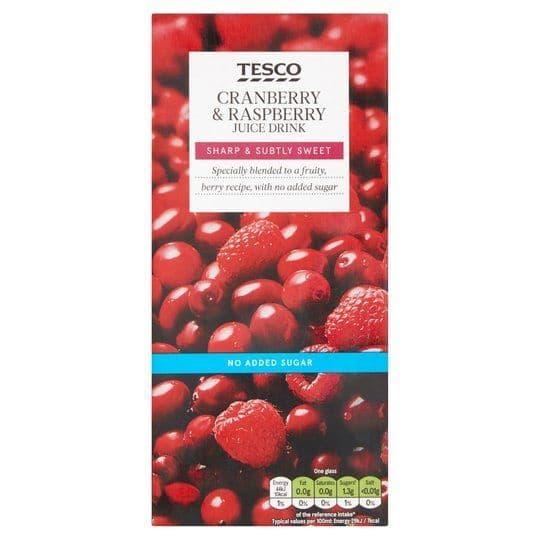 Tesco NAS Cranberry & Raspberry Juice 1L