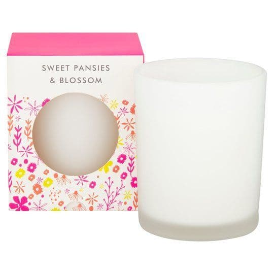 Tesco Neon Floral Candle Sweet Pansies & Blossom
