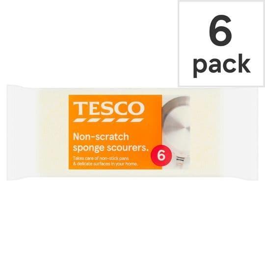 Tesco Non Scratch Sponge Scourers 6pk