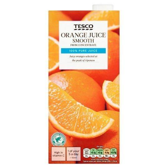 Tesco Orange Juice Smooth 1L Carton