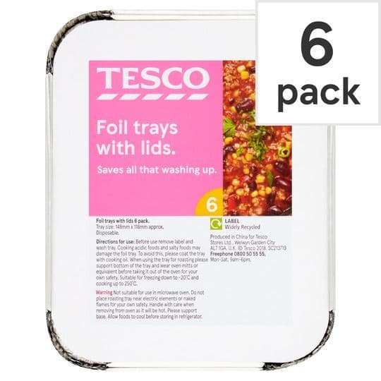 Tesco Oven Foil Small Trays With Lids 6pk