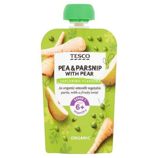 Tesco Pea, Parsnip & Pear Baby Food Pouch 100g