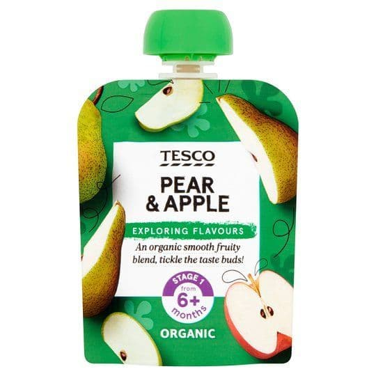 Tesco Pear & Apple Baby Food Pouch 70g