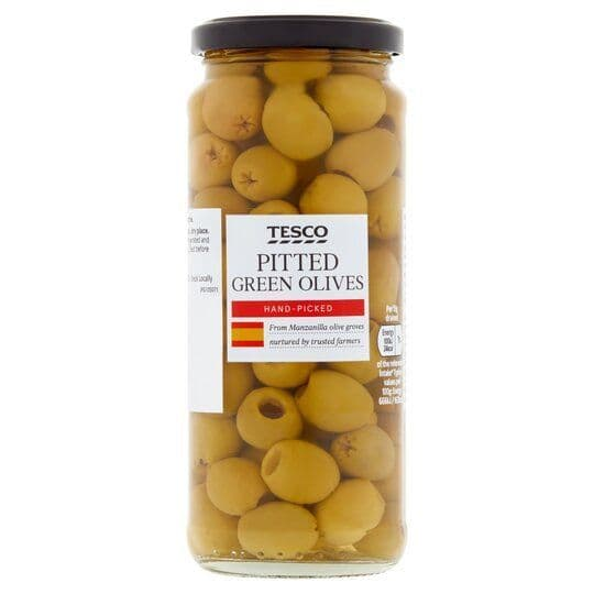 Tesco Pitted Green Olives in Brine 340g