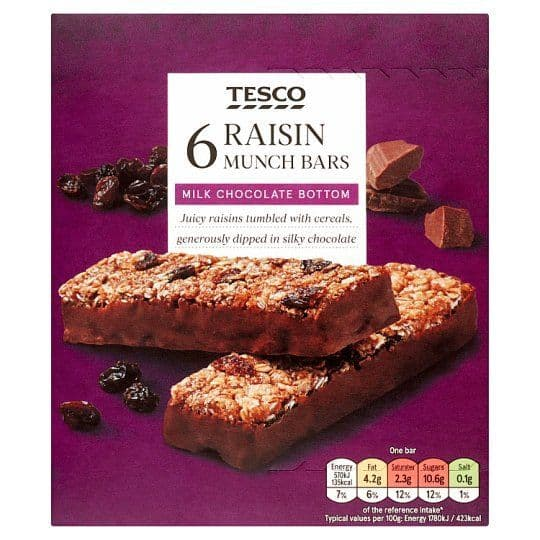 Tesco Raisin Munch Bar 6pk