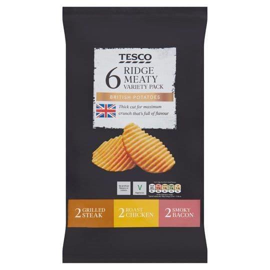 Tesco Ridge Cut Meaty Variety Crisps 6 pk