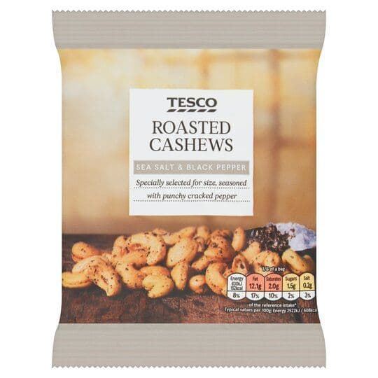 Tesco Sea Salt & Black Pepper Cashew Nuts 150g