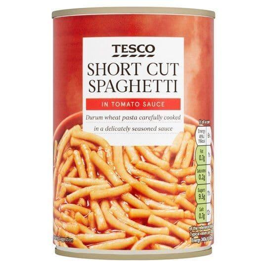 Tesco Short Cut Spaghetti in Tomato Sauce 410g