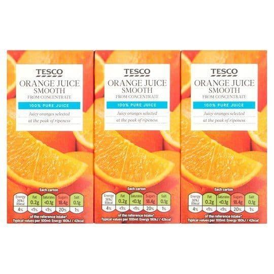 Tesco Smooth Orange Juice 3x200ml