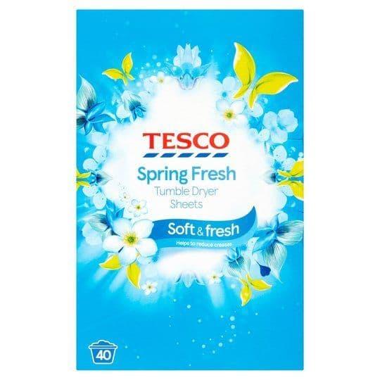 Tesco Spring Fresh Tumble Dryer Sheets (40)