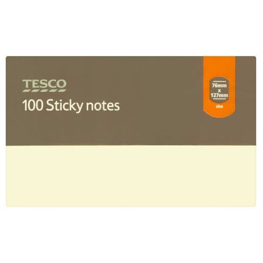 Tesco Sticky Notes 76mmx127mm Yellow 100 Sheets