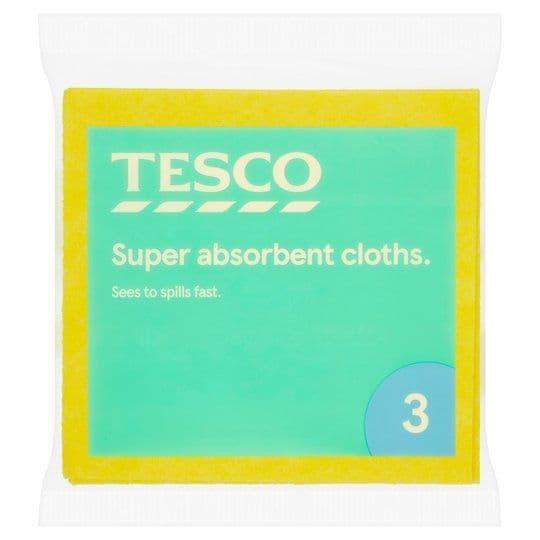 Tesco Super Absorbent Cloths 3pk