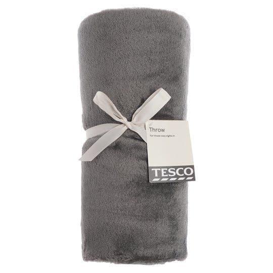 Tesco Super Soft Throw Dark Grey 120x150cm (937)