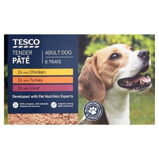 Tesco Tender Dog Food Pate 6x300g