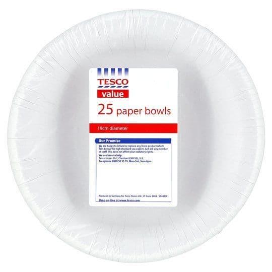 Tesco Value Paper Bowls 16cm 25pk