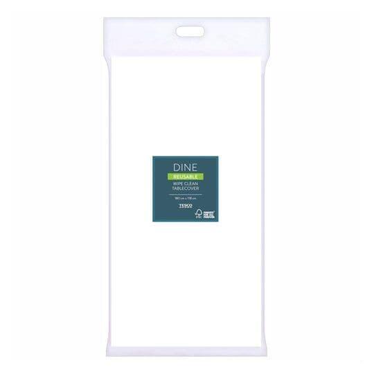 Tesco White Reusable Tablecover 180x118cm