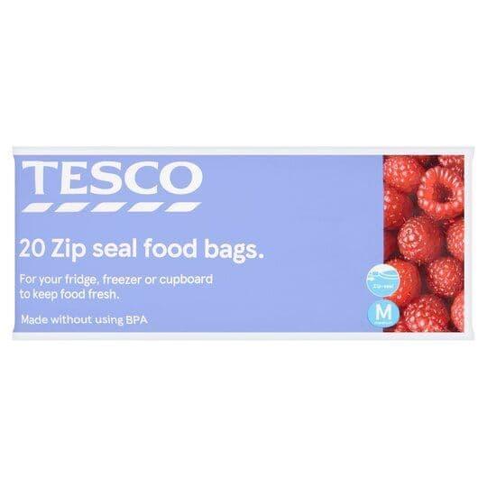 Tesco Zip Seal Food Bags Medium 20s