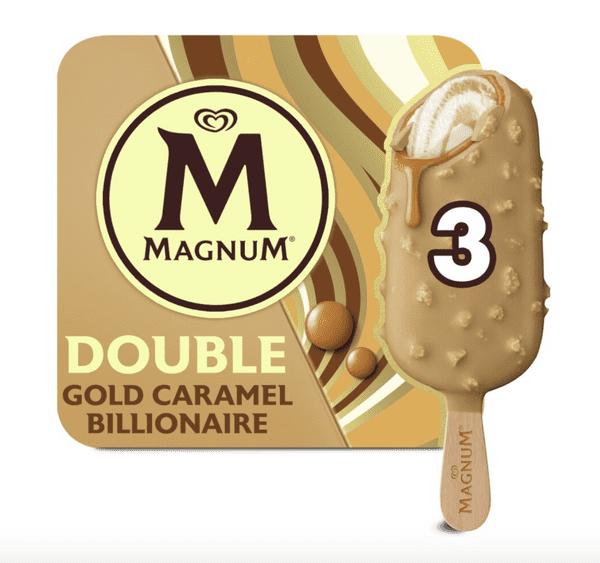 Walls Magnum Double Gold Caramel Billionaire 3pk