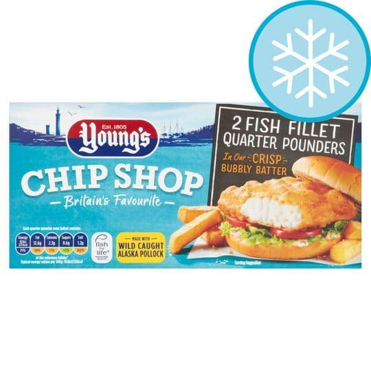 Youngs 2 Fish Fillet Quarter Pounders 227g