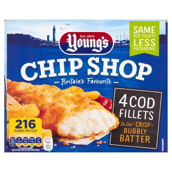 Youngs Chip Shop 4 Cod Fillets 400g