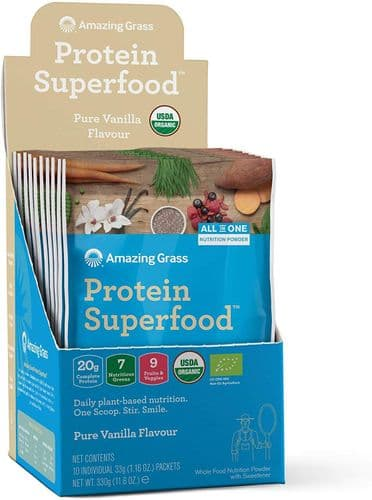 AMAZING GRASS Protein Superfood Pure Vanilla Sachet Box