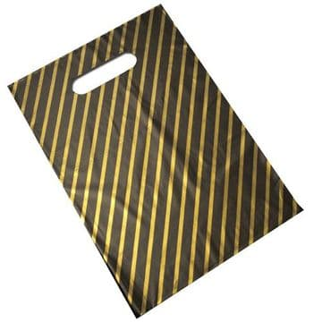 Black & Gold Striped Plastic Carrier Bags