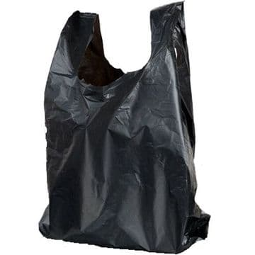 Black Plastic Vest Carrier Bags Small 8 X 13 X 17""