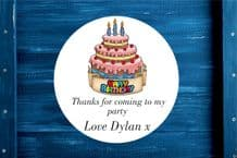 Personalised Cake Party Gift Bag Sticker